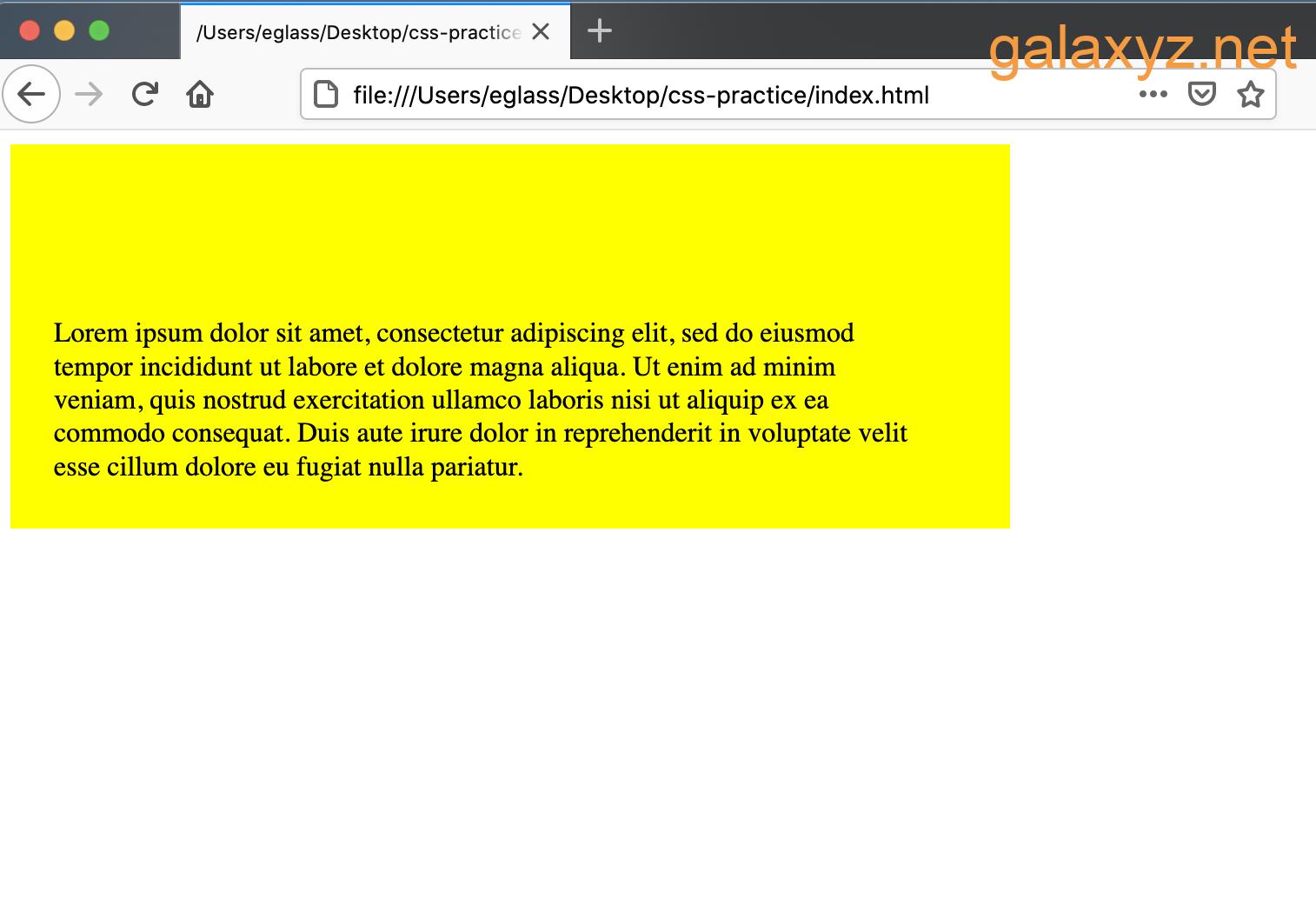 Trang web có containers  <div> màu vàng với các giá trị đệm khác nhau được đặt cho mỗi bên